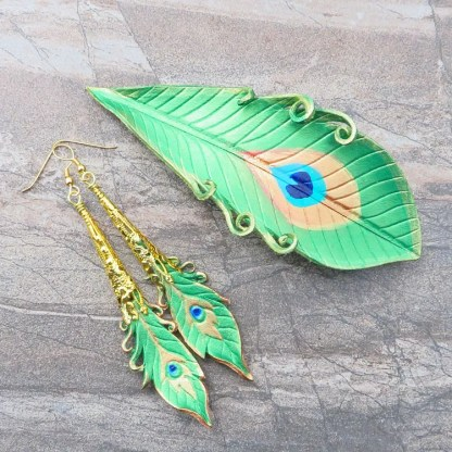 leather peacock feather barrette and earrings