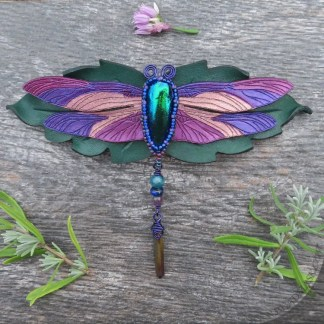 leather dragonfly barrette