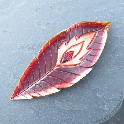 red phoenix feather leather hair barrette