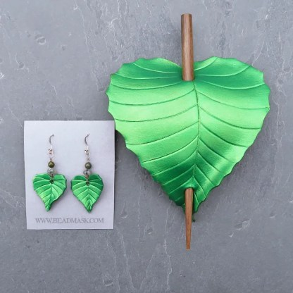 leather leaf hair slide and earrings
