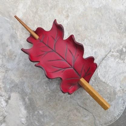 scarlet red leather oak leaf barrette