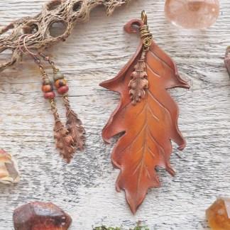 leather oak leaf jewelry set
