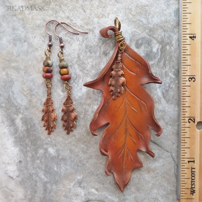 leather oak leaf jewelry set