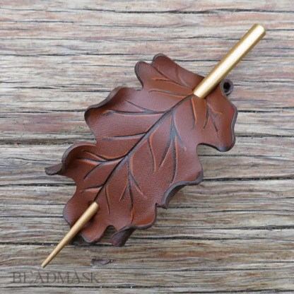 brown oak leaf leather hair slide