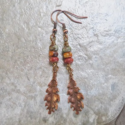 oak leaf earrings with jasper
