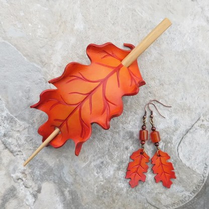 orange oak leaf leather hair slide and earrings