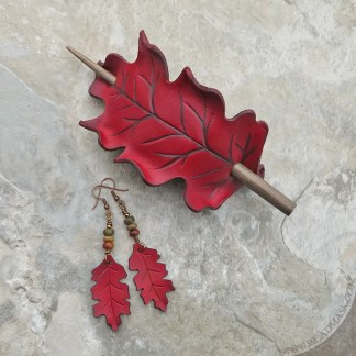 red oak leaf leather hair slide and earrings