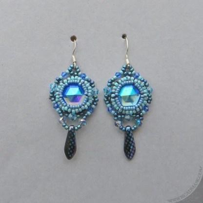 sapphire blue beaded earrings