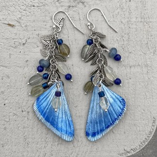 Leather butterfly wing earrings with gemstone beads