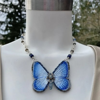 silvery blue leather butterfly necklace