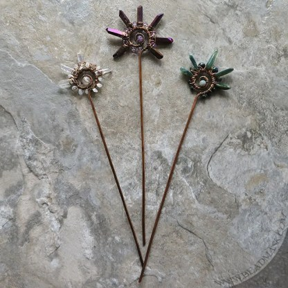 Copper spiral hair sticks with gemstone accents