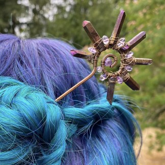 handmade copper hair stick with gemstone accents