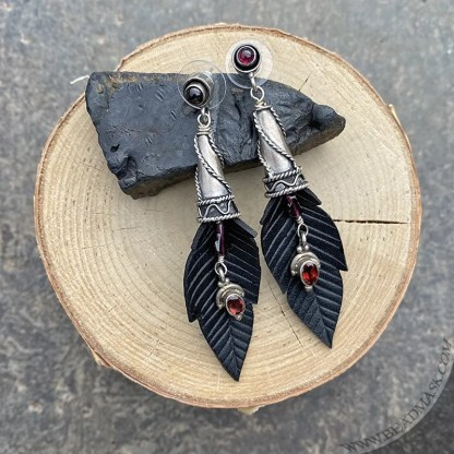 Jeweled crow feather leather earrings