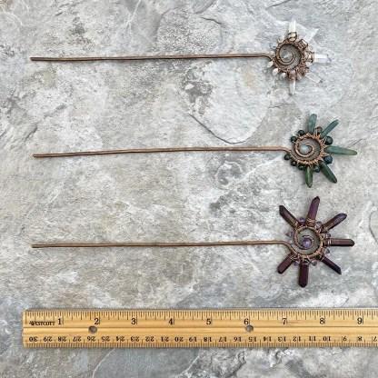 gemstone and copper hair sticks