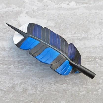 leather blue jay feather ponytail holder
