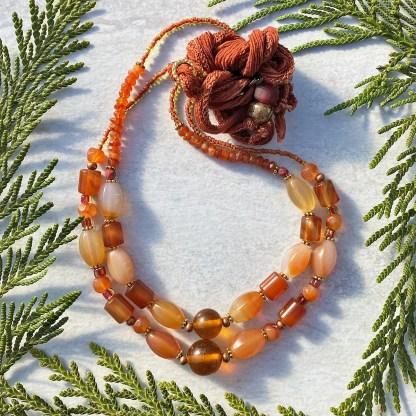 orange beaded gemstone layering necklaces