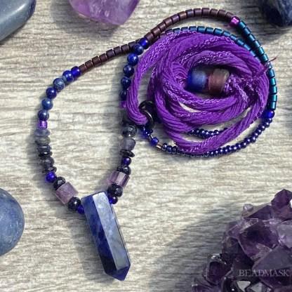 indigo blue gemstone layering necklace