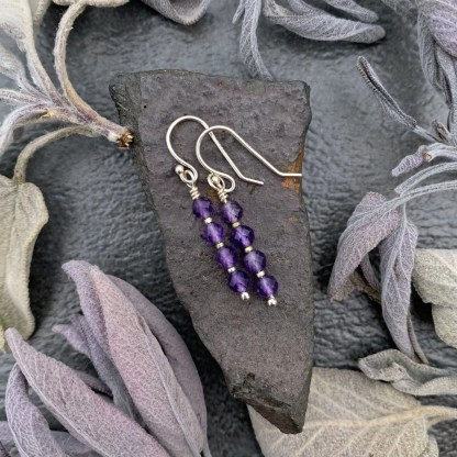 gemstone and sterling silver dangle earrings with February birthstone