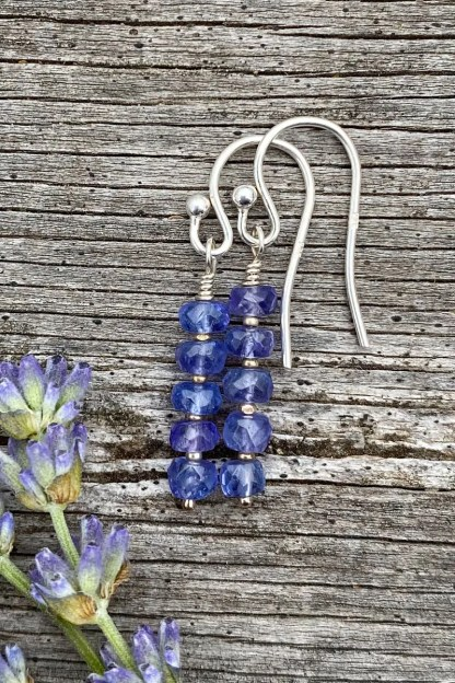 gemstone and sterling silver dangle earrings with December birthstone