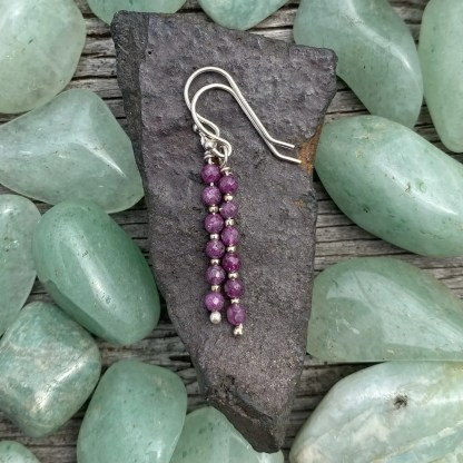 gemstone and sterling silver dangle earrings with July birthstone