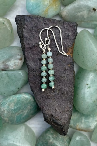 gemstone and sterling silver dangle earrings with May birthstone