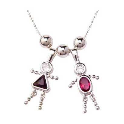 Mothers day birthstone necklace boy and girl birthstone charms aloadofball Images