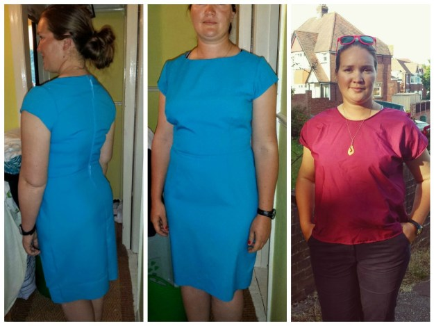 Left and Middle, Wearable Muslin for New Look 6123, Right self drafted floaty top.