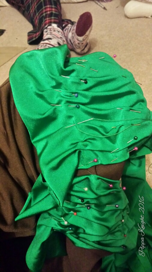 One of the main reasons Aneesa came over this weekend was for a fitting for the Green Dress, this meant lots of hand sewing of ruching that I had draped on the body form...