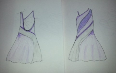 Purple Latin dress sketch
