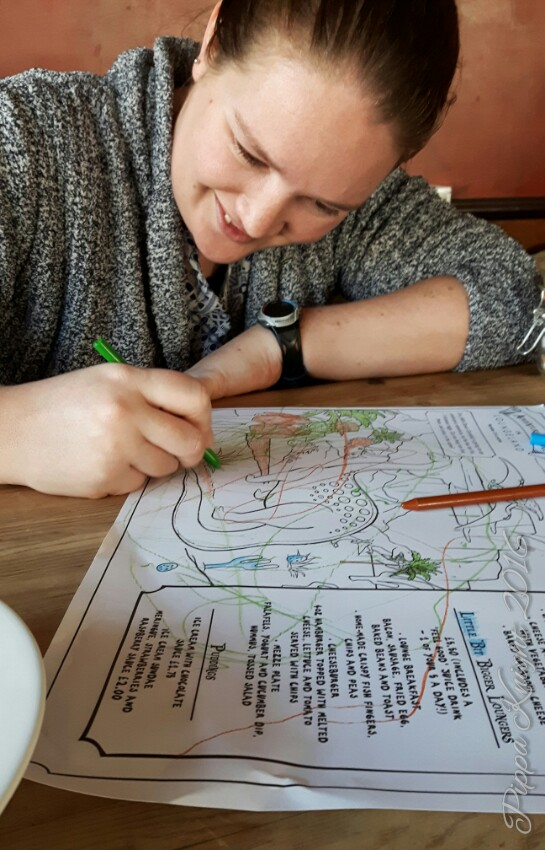 We met up with some friends of mine over the weekend, starting with taking my friend and his little boy to the park and then out for lunch. Apparently the only reason you take a small child to lunch is as an excuse to do the colouring in sheets...