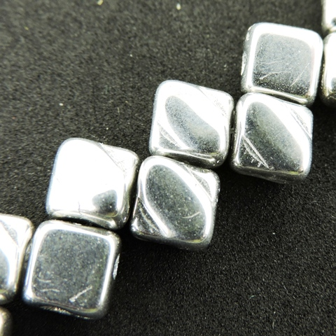 Czech Glass 2-hole Silky Beads 6mm (40) Full Labrador (silver) - Click Image to Close