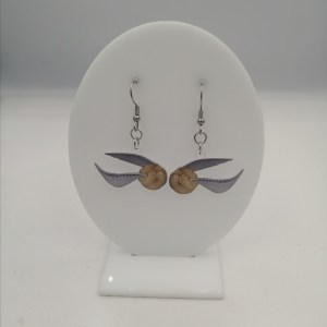Golden Snitch flying long earrings