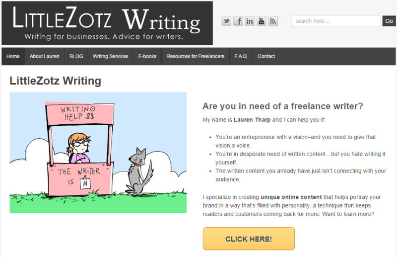 5 Simple Tweaks That Put the BANG Into Your Writer Website: Lauren Tharp homepage