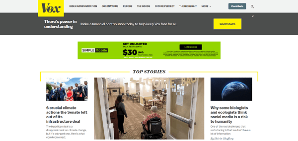 Vox blog pays freelance writers for tech and science writing jobs.