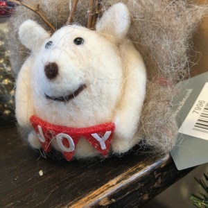 Felt Hedgehog with twig antlers & Joy