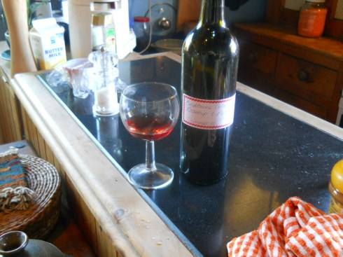 Home made wine to celebrate Imbolc at Bealtaine Cottage Feb 2011 005