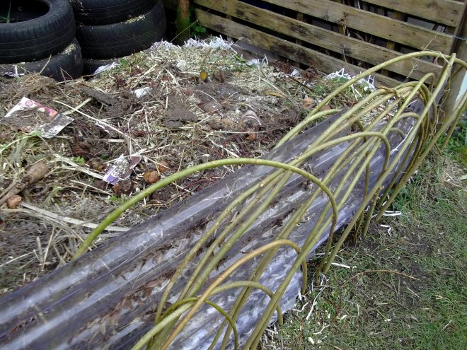 new compost heap bordered with willow at Bealtaine Cottage