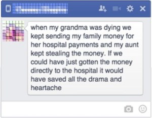 when my grandma was dying ...