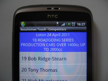 Resultsman on Android Smartphone