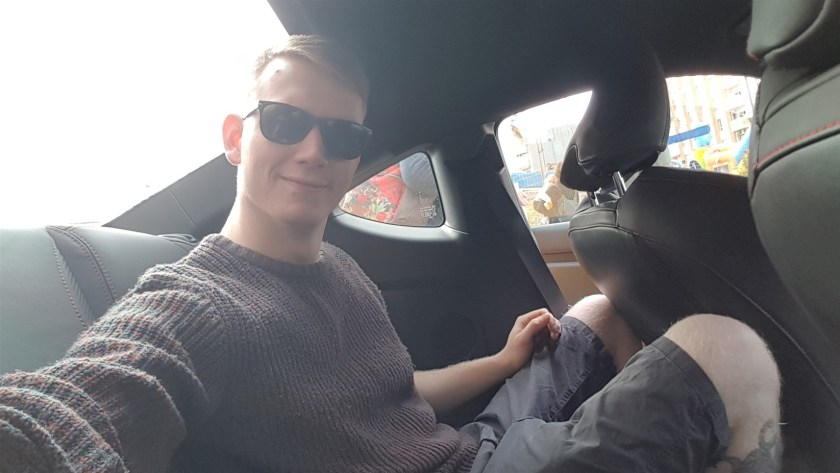 Adult in the rear seat of a GT86