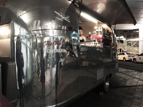 Space van outside Auckland Airport for your warm drinks