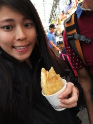 Sizzling pancake in a cup! Sweet in the inside, soft dough that is fried till it's crispy on the outside.