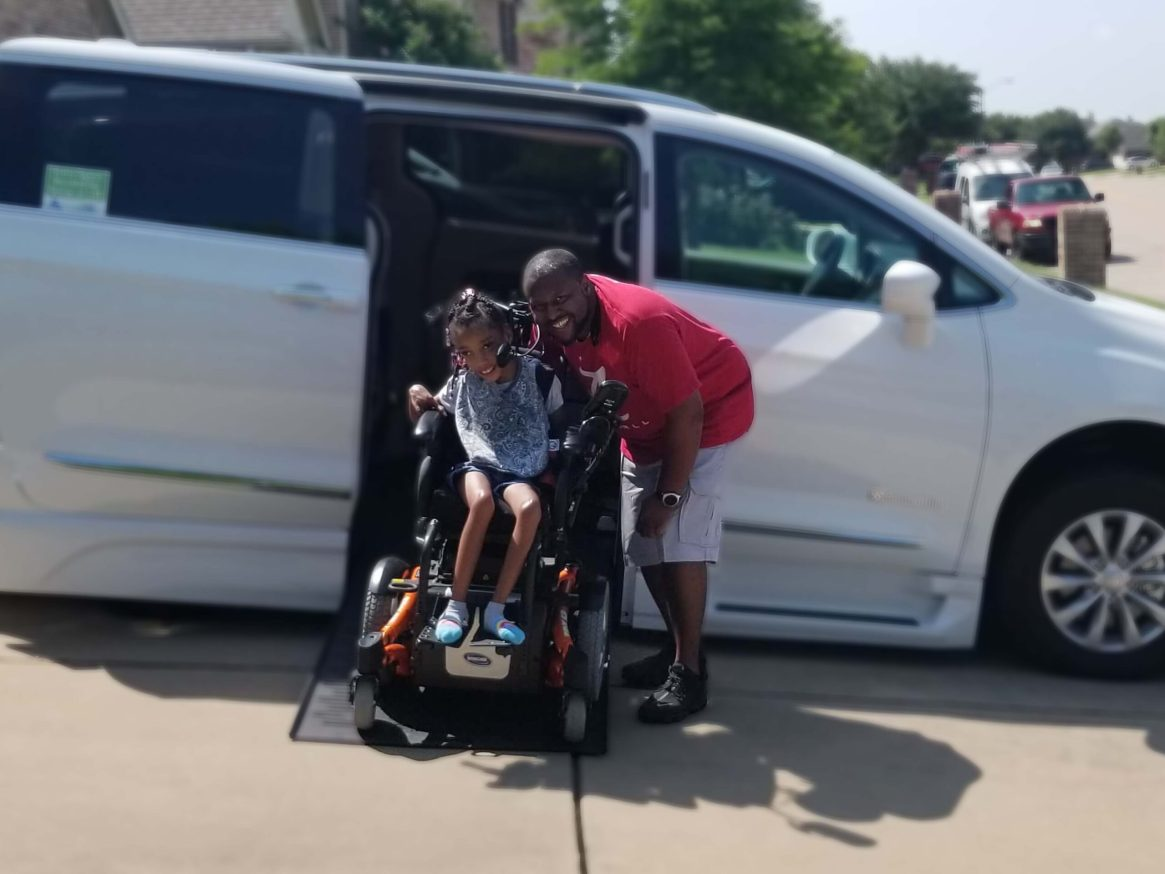 This dynamic father/daughter duo is a model of smiling through adversity.  Kelcie is a vivacious 9 year old with a smile a big as Texas.  She was born with quadriplegic spastic cerebral palsy and relies on a wheelchair for mobility. When her manual wheelchair was to be replaced by a power chair to promote independence, it became clear a van with a lift would become necessary for the family.  The partial van conversion support from Be An Angel allows Kelcie to independently maneuver her wheelchair into the van and has been a Godsend for her dad.  This spirited family is learning a new normal with the tools that allow them to be fully engaged in their community.
