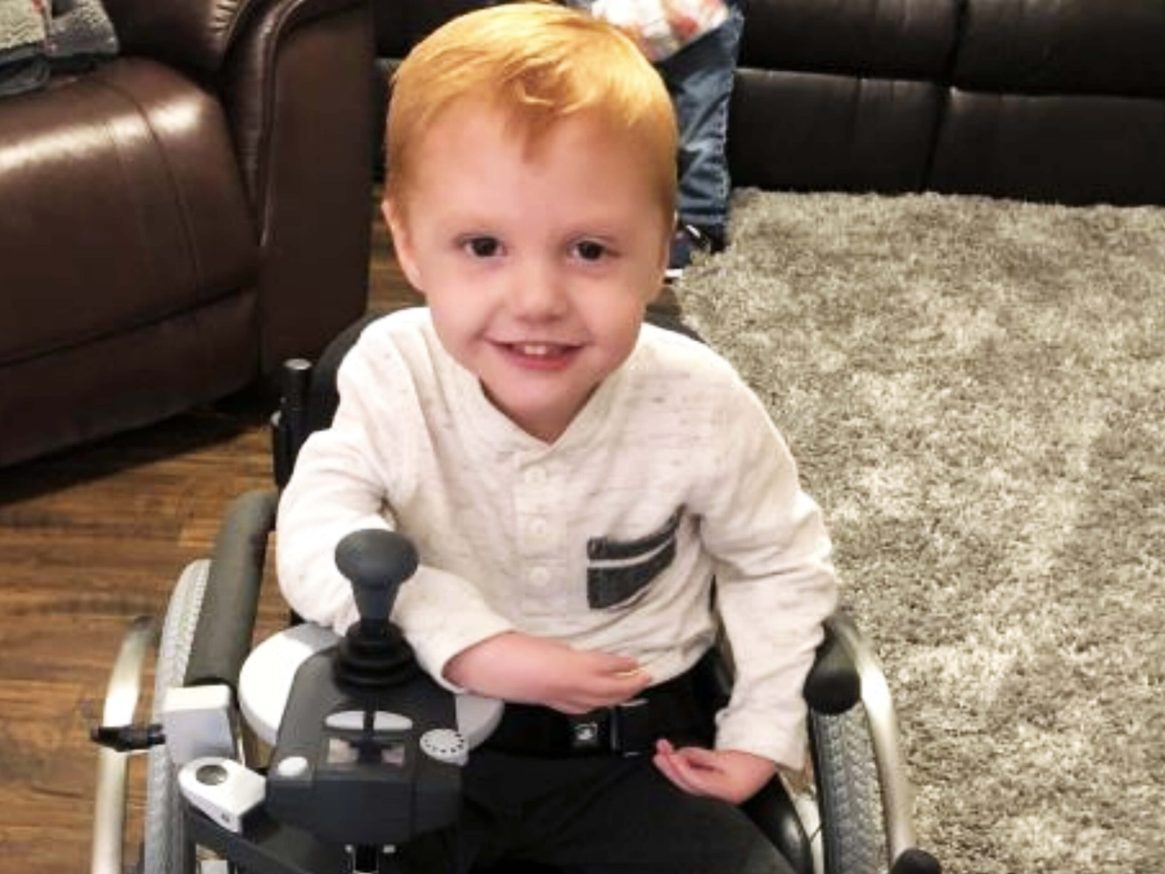 Logan may have started life with a few obstacles to overcome, but that has not stopped this energetic 4-year old from enjoying life! Logan was born with Arthrogryposis Multiplex Congenita, which is the development of multiple joint contractures affecting two or more areas of the body. A contracture occurs when a joint becomes permanently fixed in a bent or straightened position, which can impact the function and range of motion of the joint. The Efix adaptation on his wheelchair allows Mom and Dad to easily remove the battery component of the wheelchair and still be able to load his chair into the family vehicle for appointments, school and outings as a family. For Logan and his family, a wheelchair that could be loaded into the family vehicle has been life-changing! Wheelchairs are one of our most requested pieces of equipment needed.
