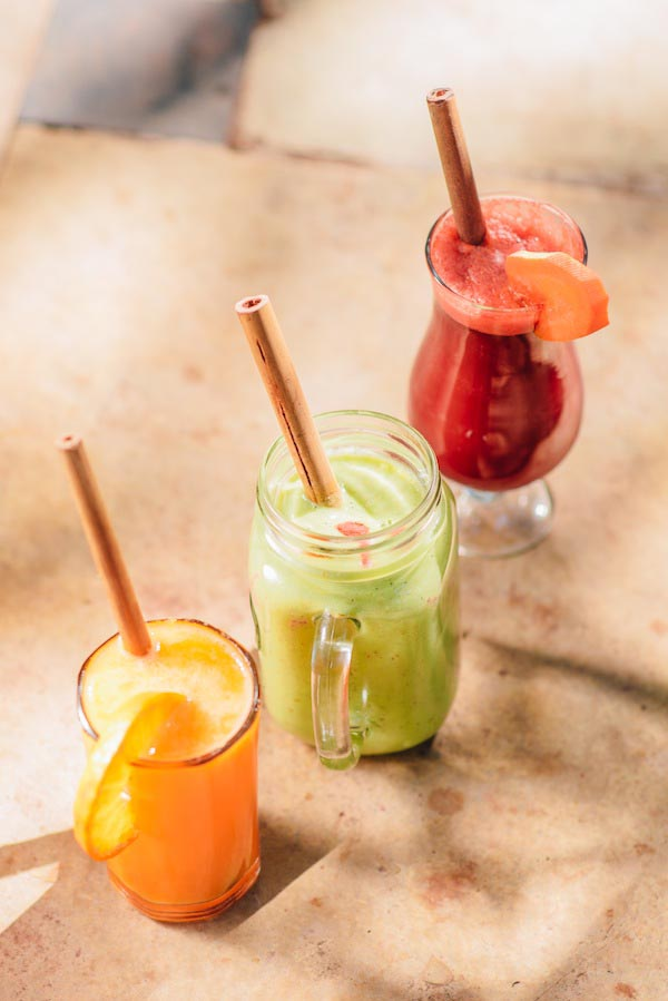 Vegan drinks: Healthy Fruit Juice and Smoothies at Bean Me Up, Vegan Restaurant in Goa.