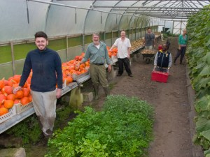 The Growing With Nature team in the poly tunnel