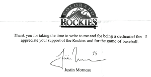 Justin Morneau Autograph Request