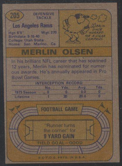 1974 Topps #205 Merlin Olsen (Back)