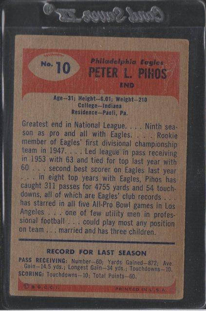 1955 Bowman #10 Pete Pihos (Back)