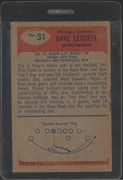 1955 Bowman #31 Dave Leggett (Back)